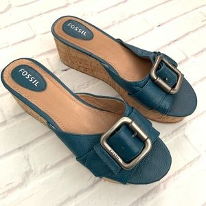 Fossil teal wedges sandals